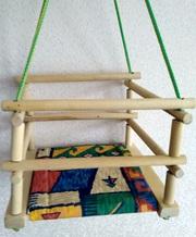 Качели детские деревянные подвесные